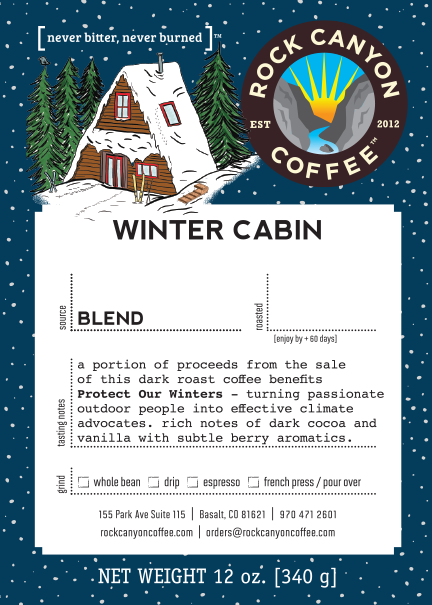Rock Canyon Coffee Winter Cabin Label with product description - winter cabin illustration in top left corner