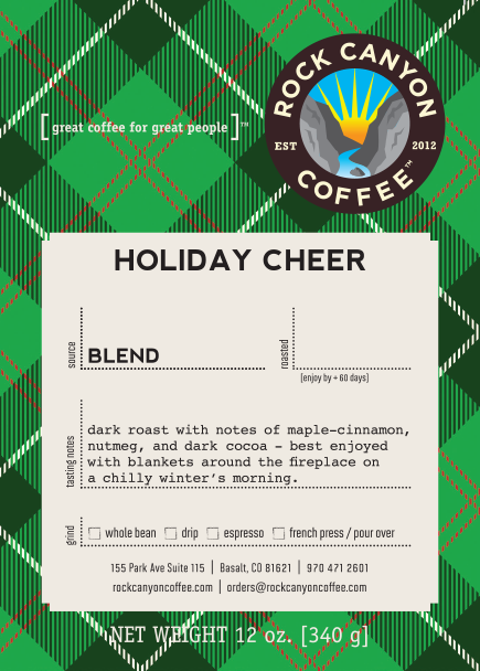 Holiday Cheer green plaid Rock Canyon Coffee label with product description