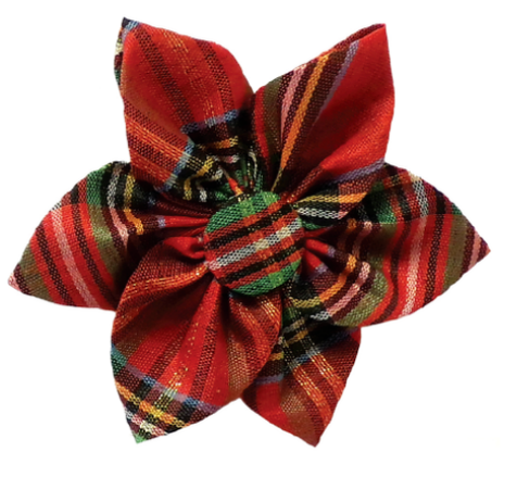 Red Plaid Lurex Pinwheel Flower