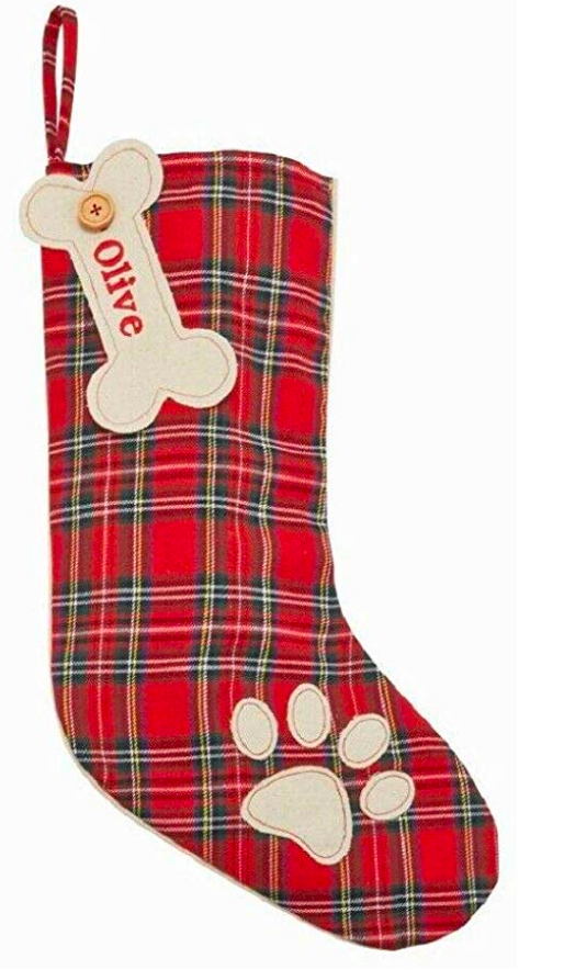 Red Monogram Plaid Stocking