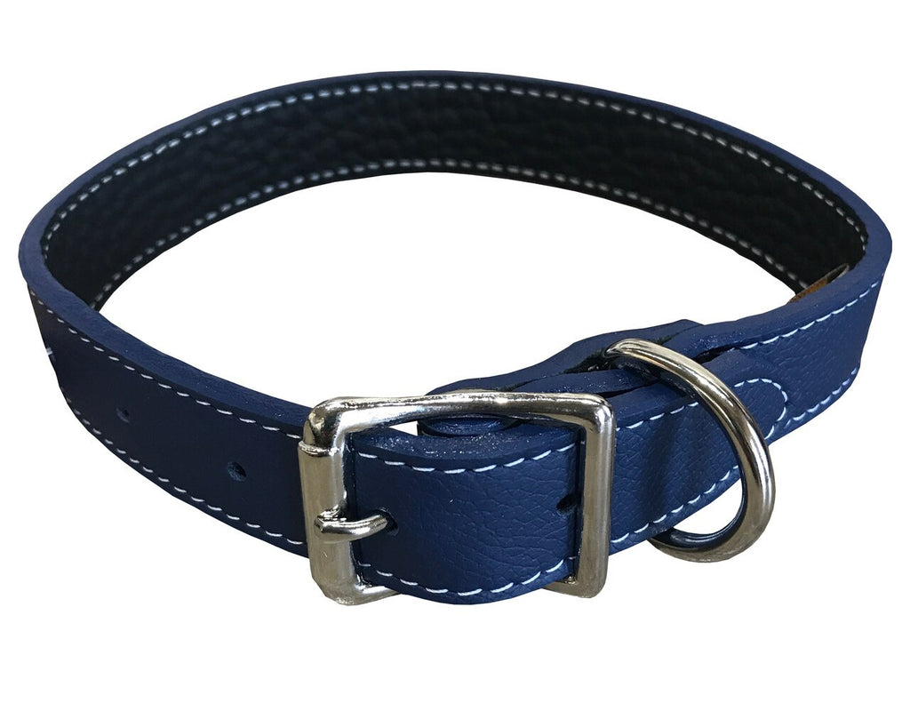 Blue Tuscany Leather Collar