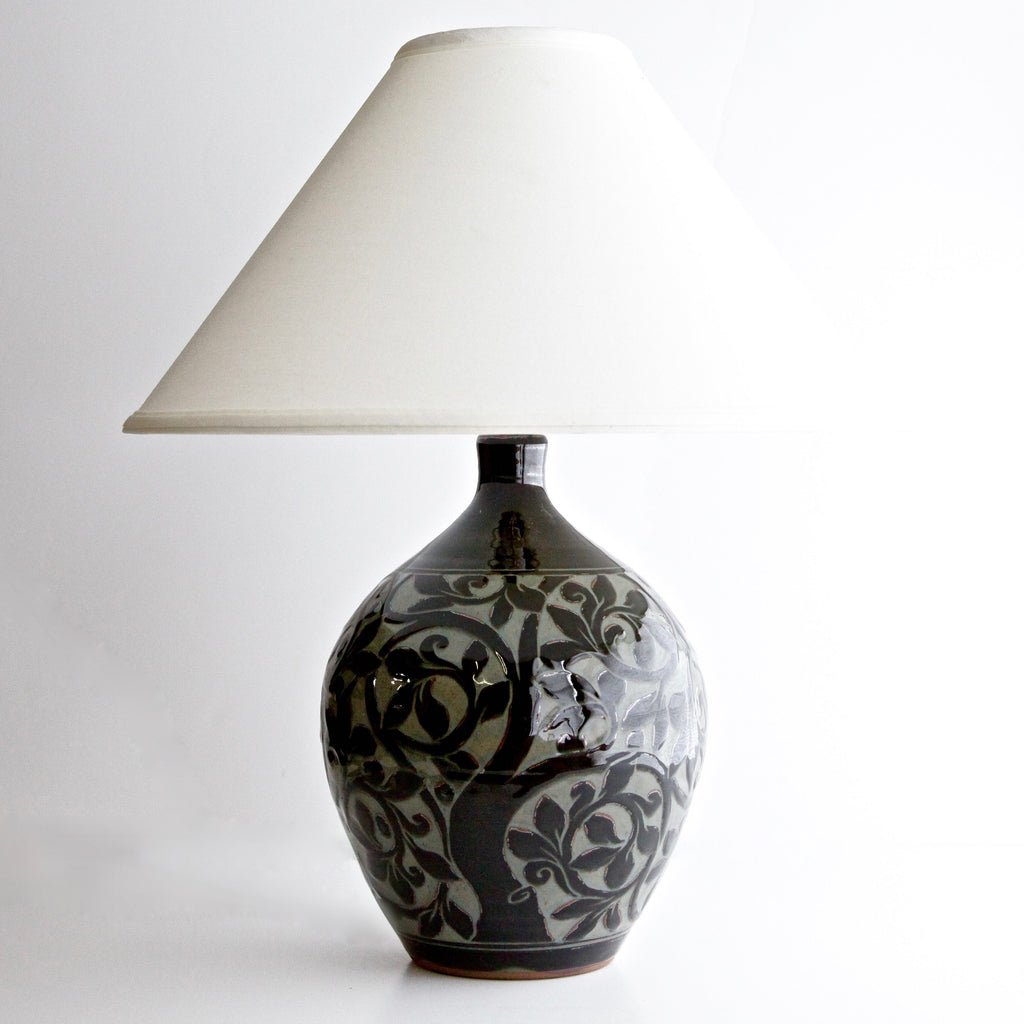 Large Black Carved Tree of Life Lamp