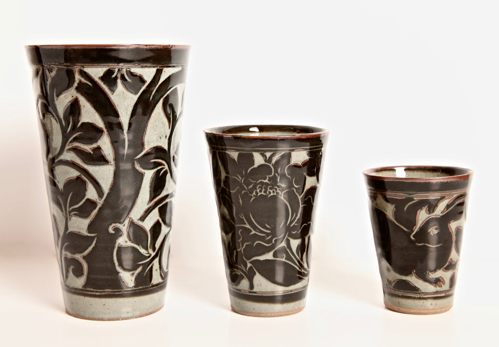 Black Carved Beaker Vase