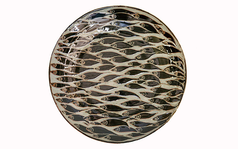 Black Carved Coupe Platter with Teeming Fish