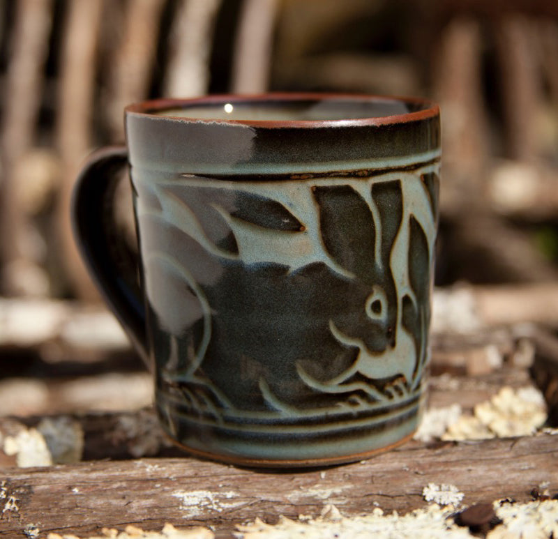 Black Carved Mug