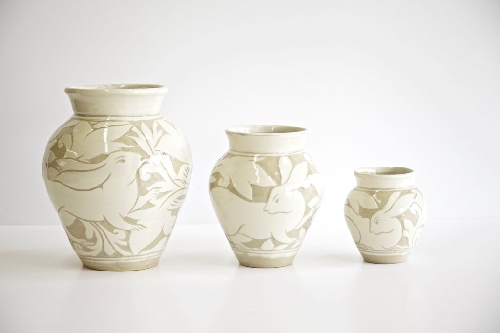 Cream Carved Vases