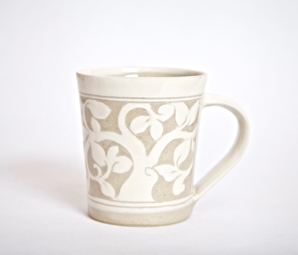 Cream Carved Mug