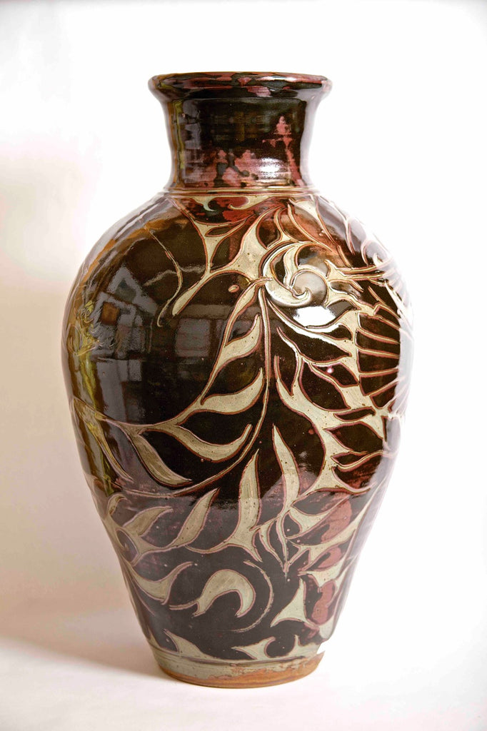 Black Carved Vase with Birds of Hope