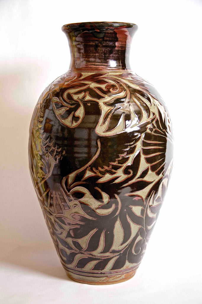 "22.5"" Tall Black Carved Vase with Birds of Hope #1"