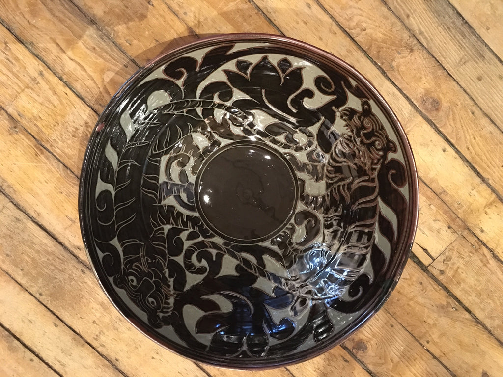 Black Carved Tiger Bowl