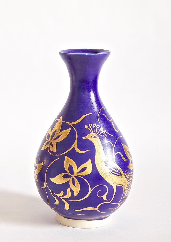 Woodland Peacock Onion Vase