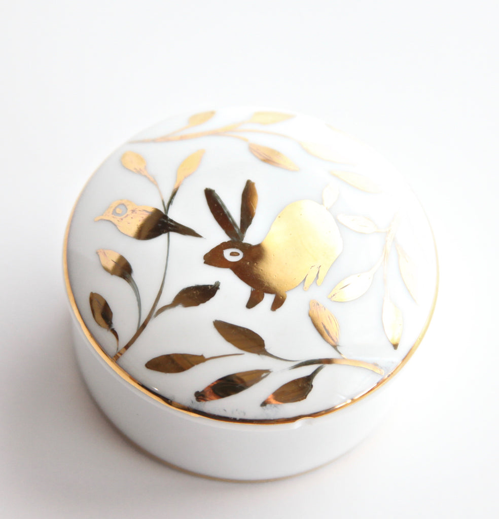 "2.5"" Gold Banded Lidded Box with 24K Gold Painted Bird & Rabbit"