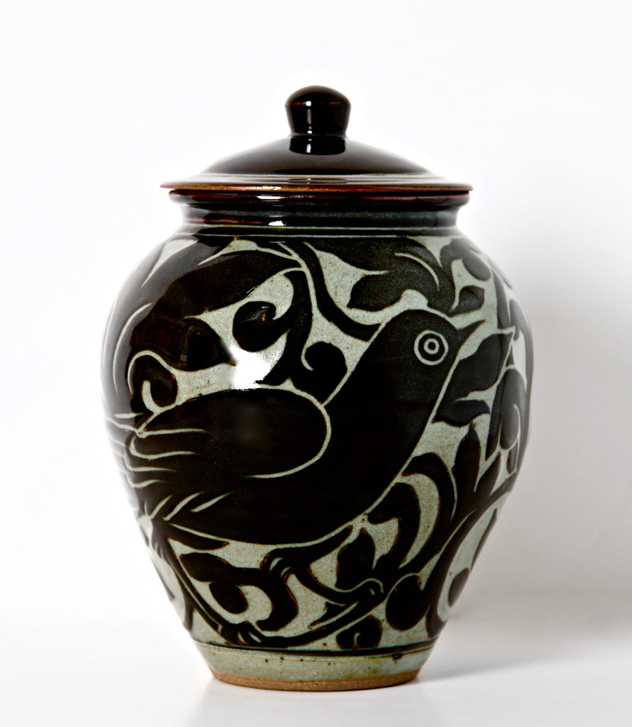 Medium Black Carved Storage Jar with Bird