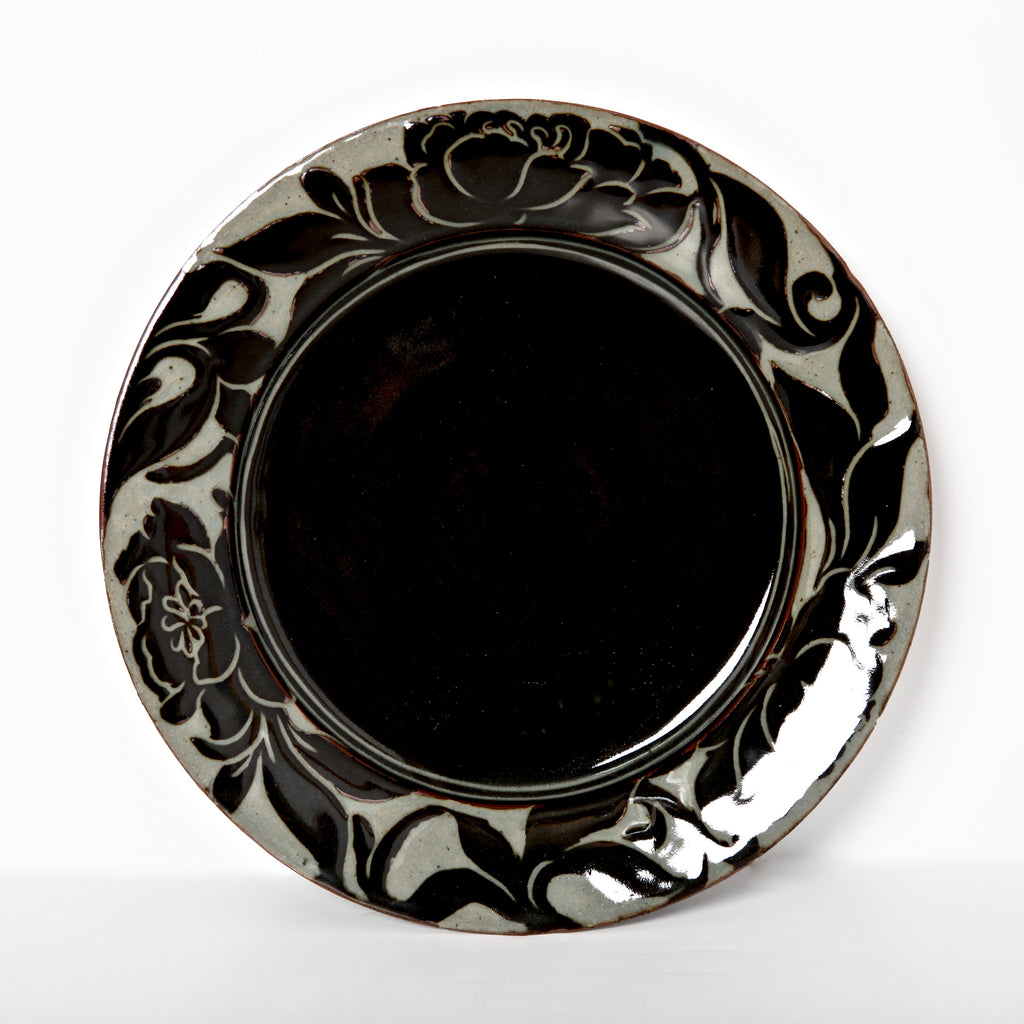 "10.5"" Black Carved Plate with Peony Design Signed by Miranda Thomas"