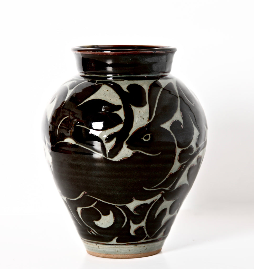 Large Black Carved Vase with Rabbit
