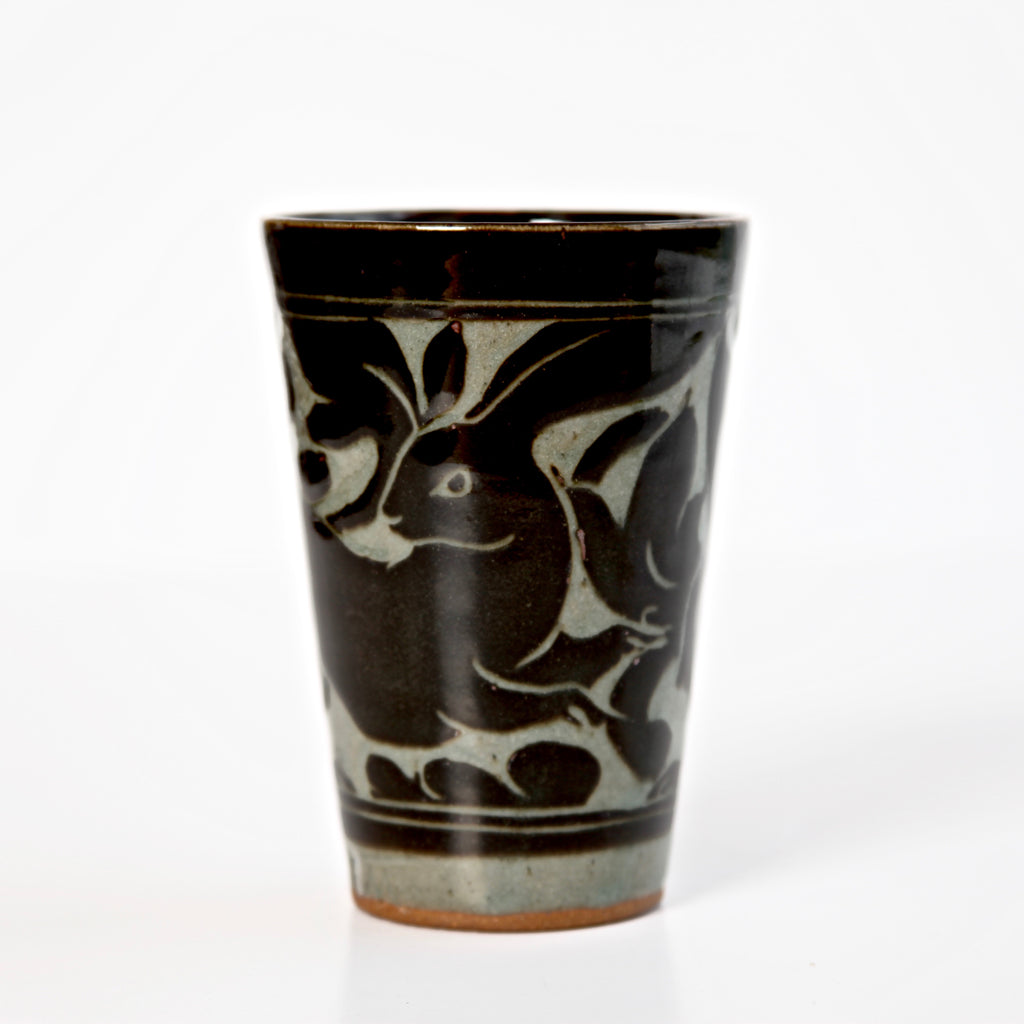 Medium Black Carved Beaker with Rabbit Signed by Miranda Thomas