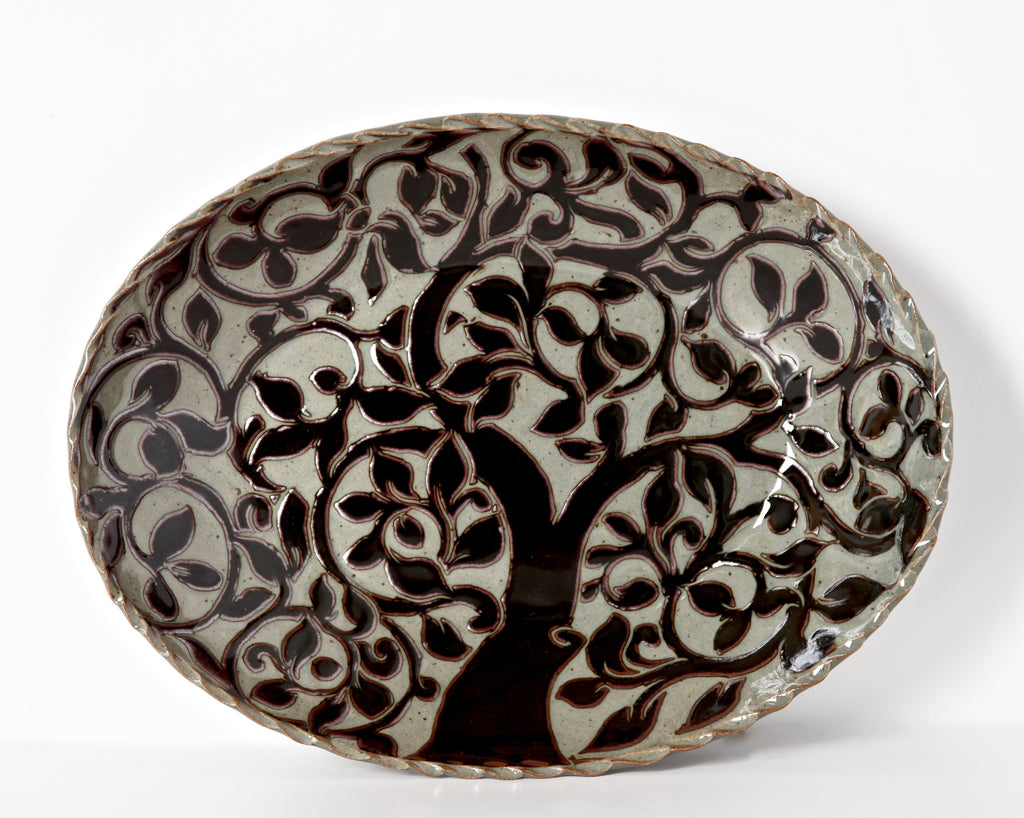 Large Black Carved Oval Platter with Tree of Life