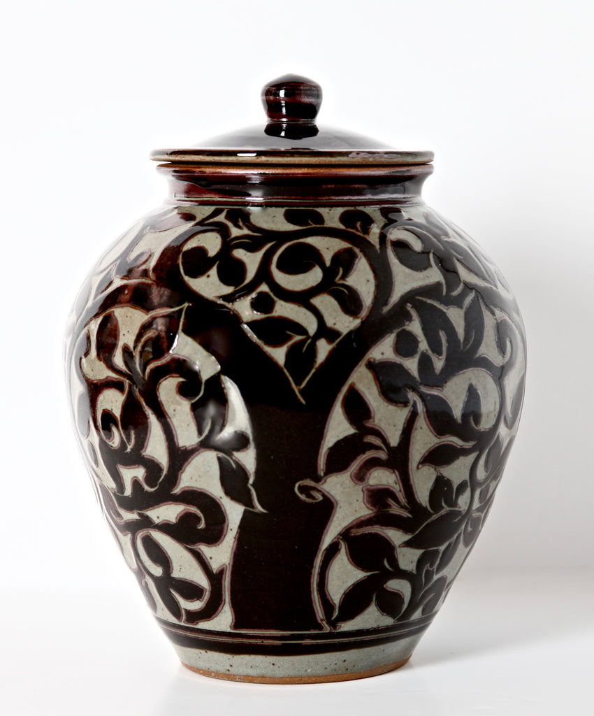 Large Black Carved Storage Jar with Tree of Life