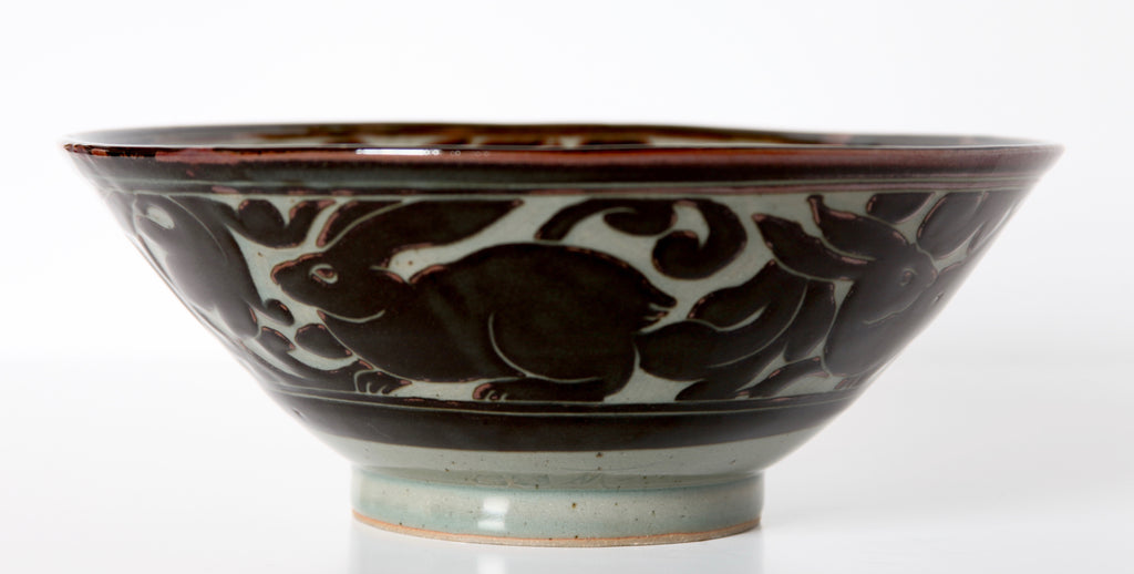 "Large 12"" Wide Black Carved Bowl with Rabbit"