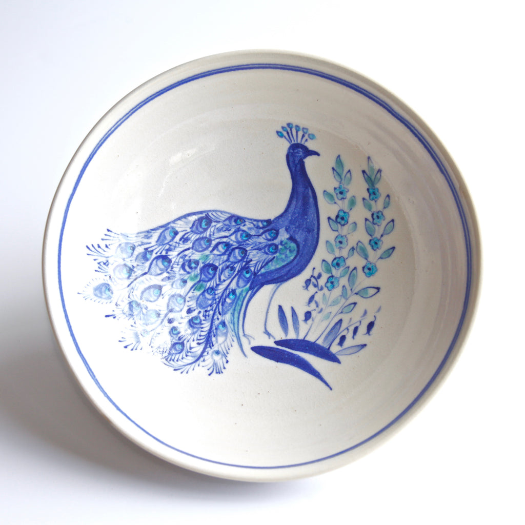 "10"" Collector's Serving bowl with Peacock and Forget-Me-Knots by Miranda Thomas"
