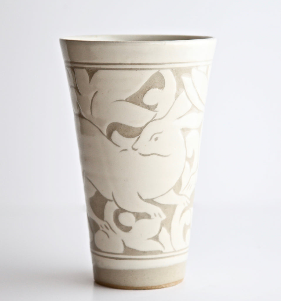 Medium Cream Carved Beaker with Rabbit Signed by Miranda Thomas