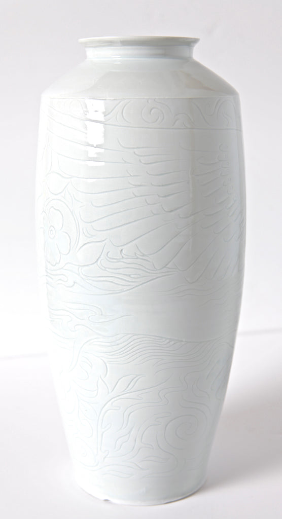 "16"" Porcelain Bottle Vase with Inscribed Phoenix Rising"