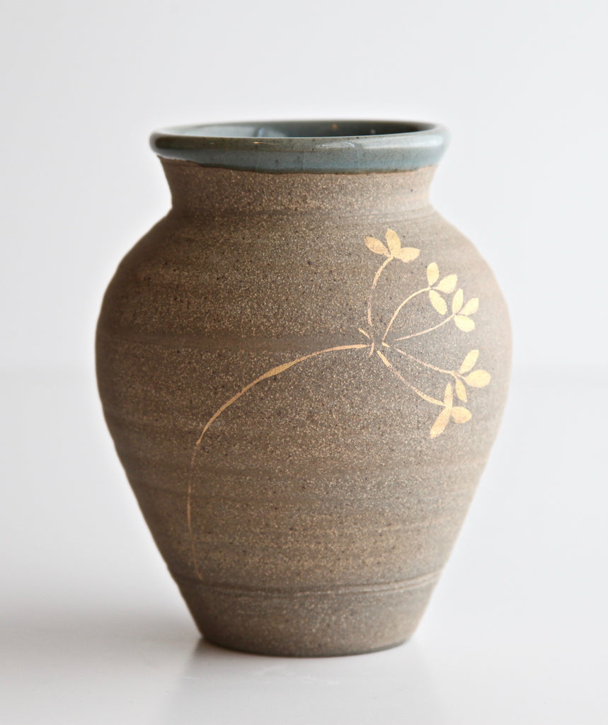 Small Vase with 24K Gold Painted Grasses