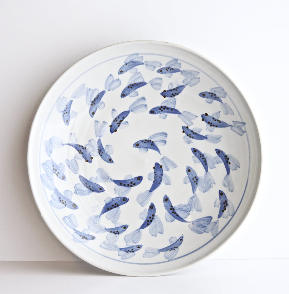 "14"" Coupe Platter with Painted Fish"