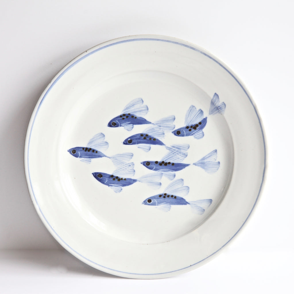 "10.5"" Dinner Plate with Painted Fish Signed by Miranda Thomas"
