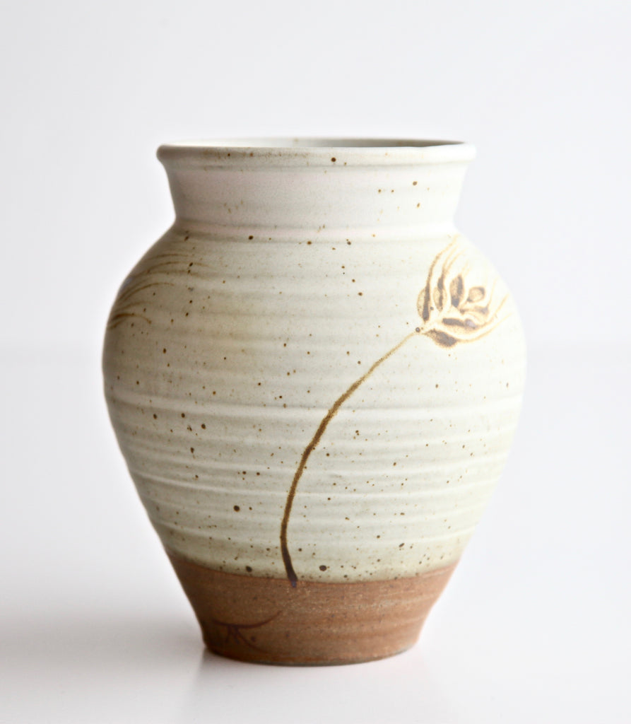 "6"" Oatmeal Vase with Painted Wheat"