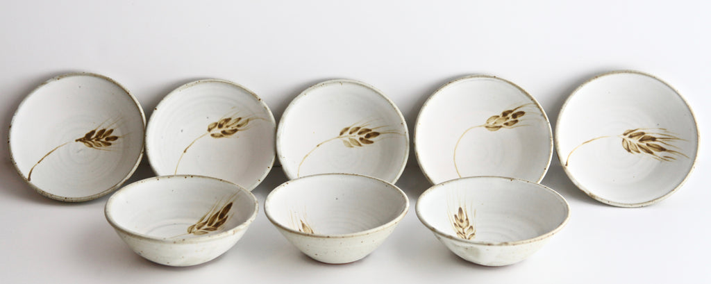"Set of Eight 5.5"" Dessert Bowls with Painted Wheat"