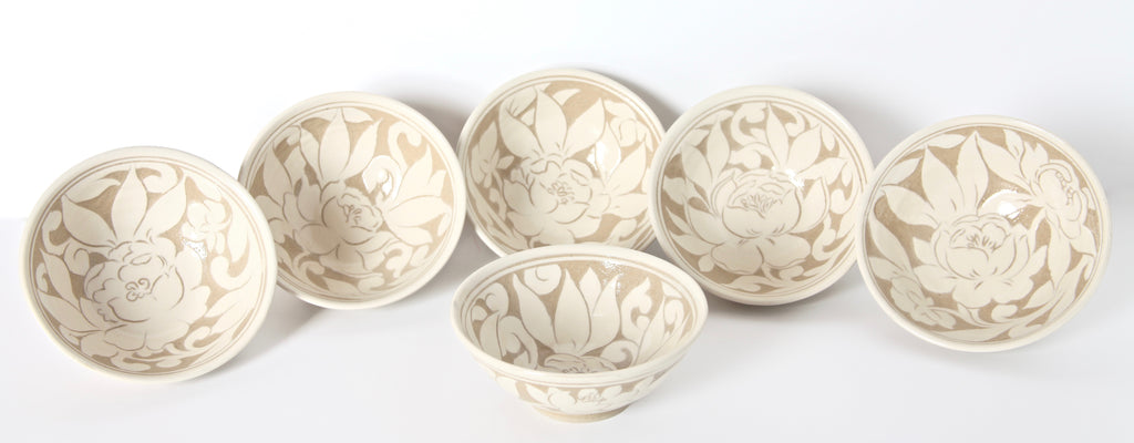 Set of Six Cream Carved Cereal Bowls with Peonies