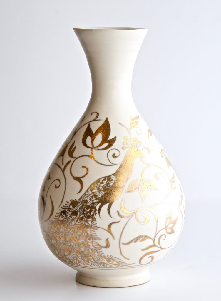 "10"" Crystalline Onion Vase with 24K Gold Painted Peacocks"