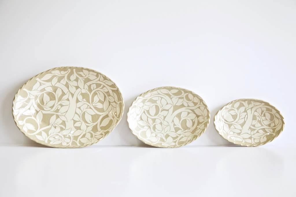 Cream Carved Oval Platters