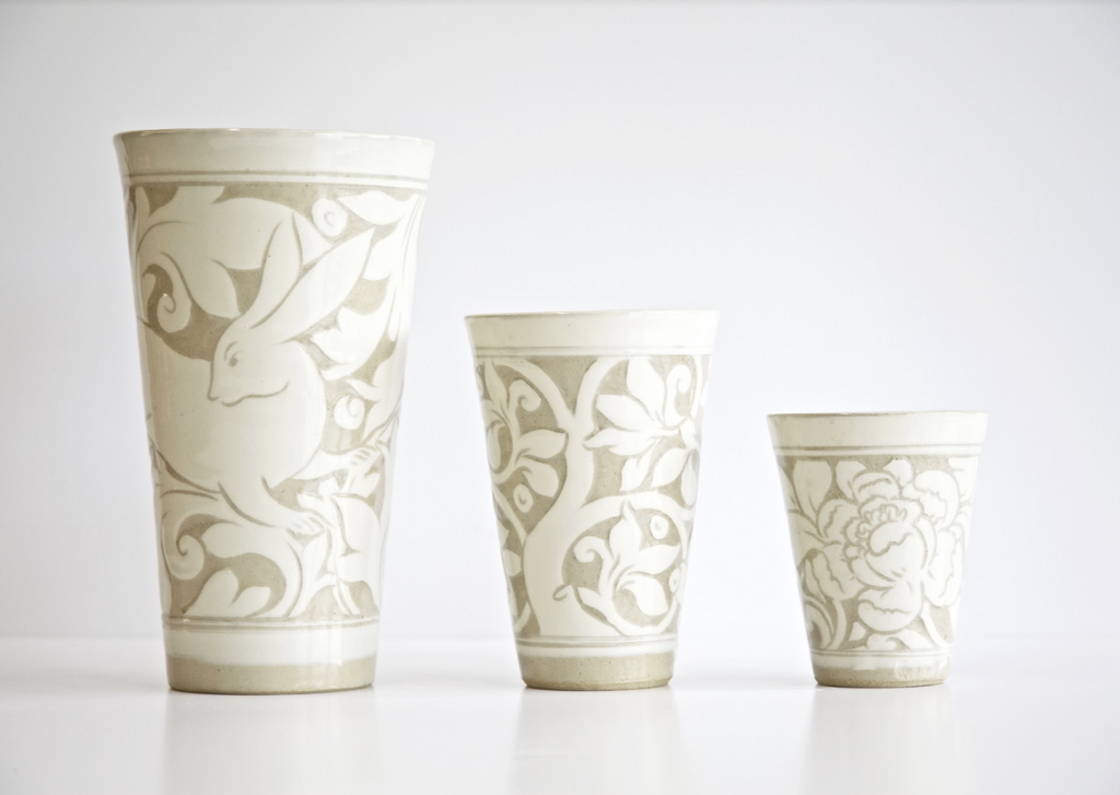 Cream Carved Beaker Vases