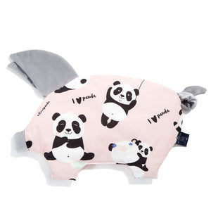 SLEEPY PIG baby pillow - #ilovepanda Pink | Velvet Dark Grey