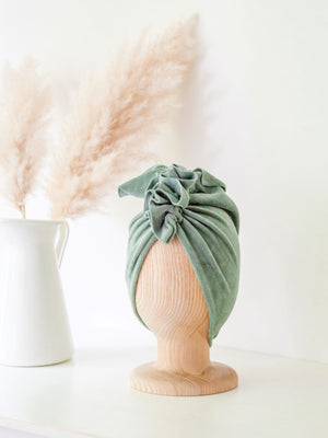 TURBAN HAT - Velvet Dusty Mint