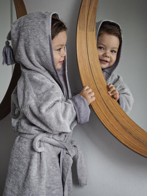 BATHROBE BAMBOO SOFT bambu kylpytakki - Moonlight Swan | Grey (Kid)