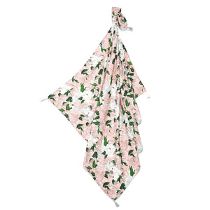 BAMBOO SWADDLE FRINGE light summer blanket - Lady Peony