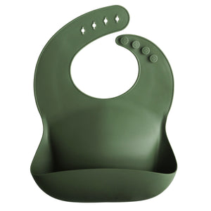MUSHIE SILICONE BABY BIB - Forest Green