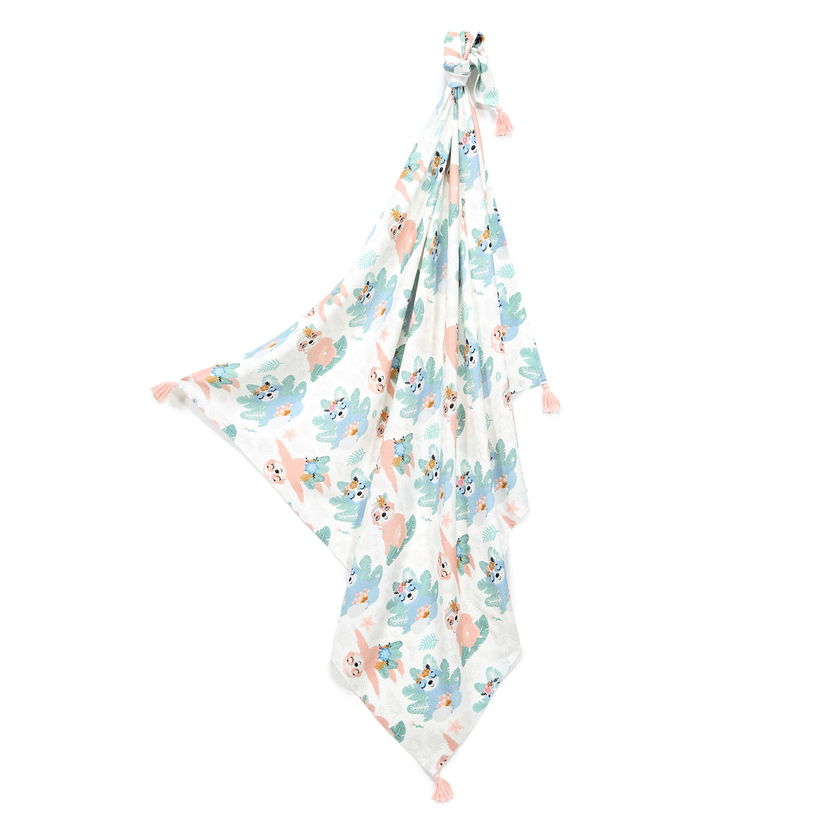 BAMBOO SWADDLE FRINGE light summer blanket - Yoga Candy Sloths