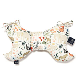 bamboo neck support pillow for babies and toddlers with an animal print