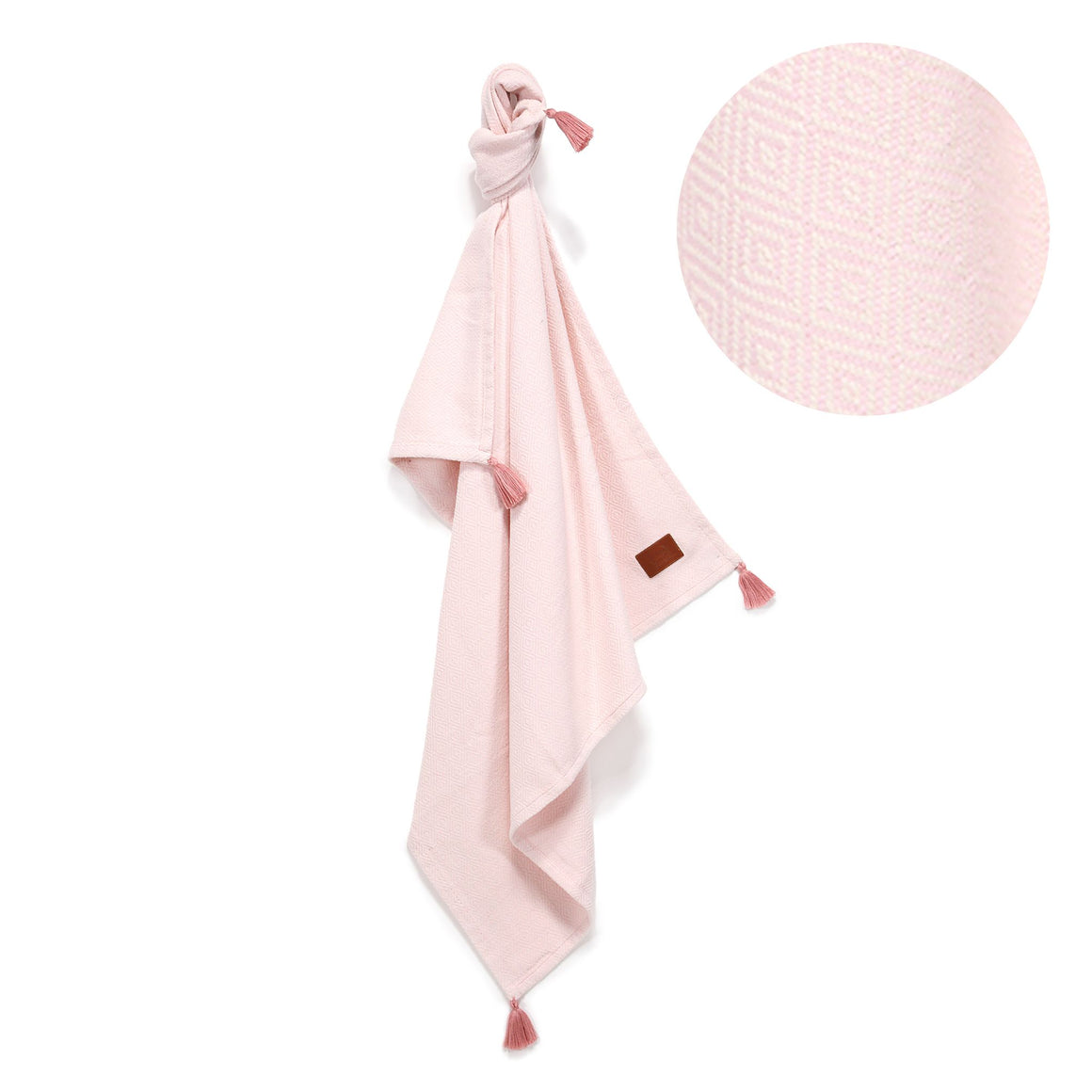 TENDER COTTON ETHNIC BLANKET - POWDER PINK