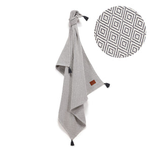 TENDER COTTON ETHNIC BLANKET - ANTHRACITE