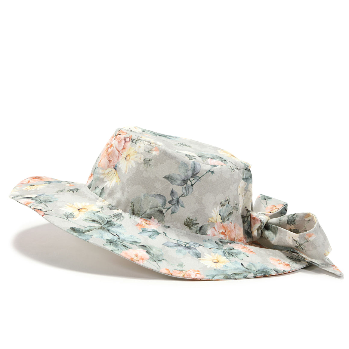 Sun hat for girls and babies with a floral print