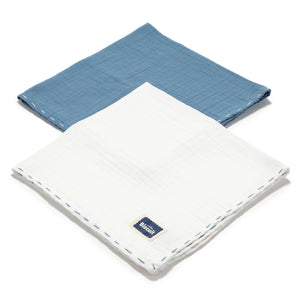 MUSLIN SWADDLE (2-PACK) 100% cotton - NAVY & OFF WHITE