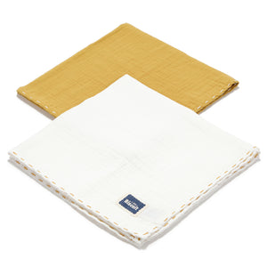 MUSLIN SWADDLE (2-PACK) 100% puuvillaharsot - HONEY & OFF WHITE
