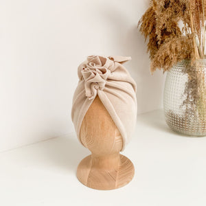 TURBAN HAT - Velvet Light Beige