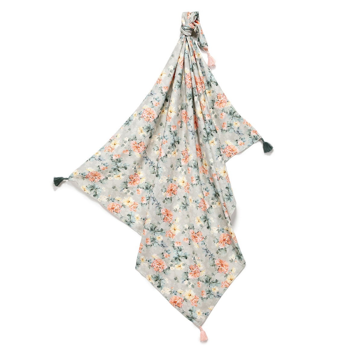 BAMBOO SWADDLE FRINGE kapalo/kevyt peitto - Blooming Boutique