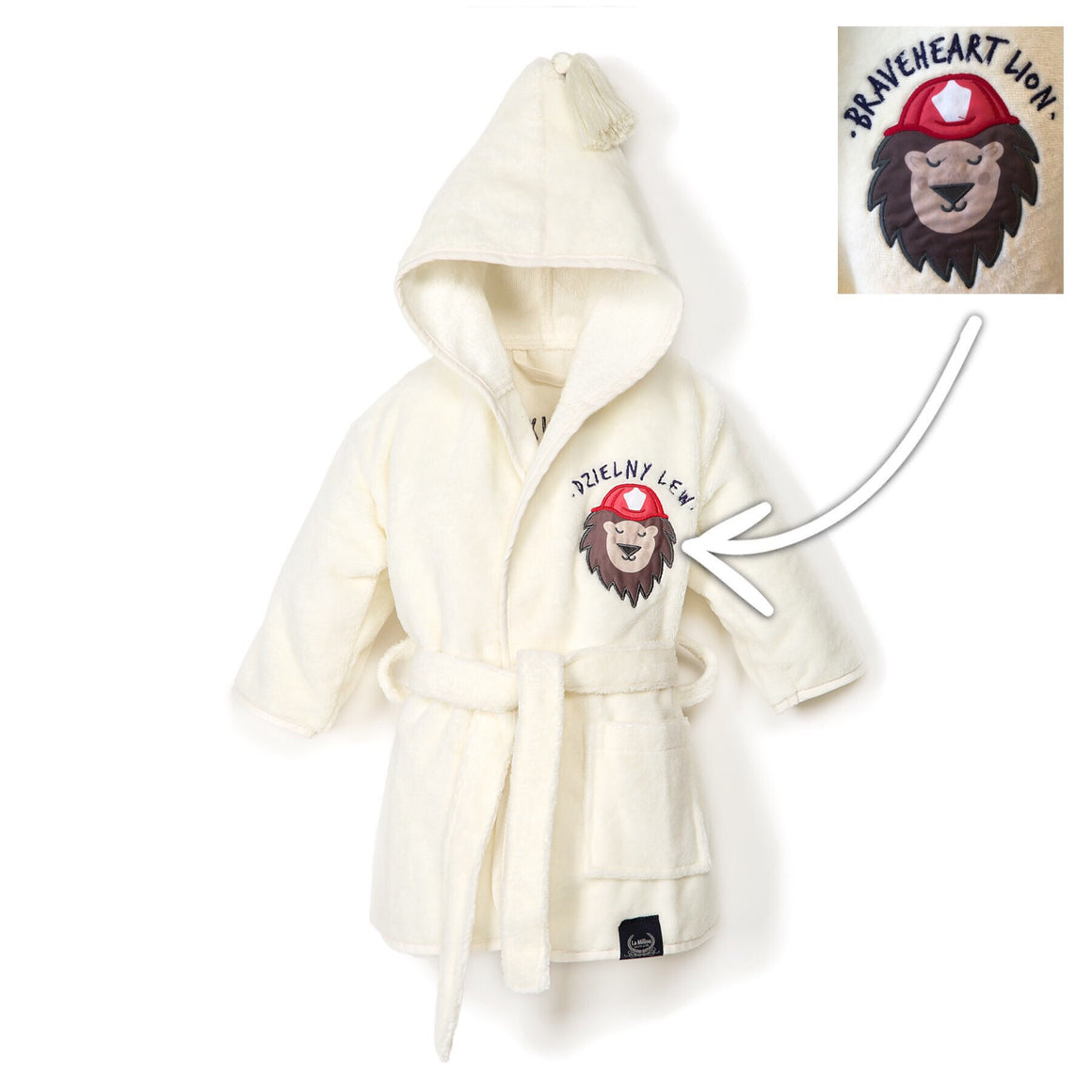 BATHROBE BAMBOO SOFT bambu kylpytakki - Braveheart Lion | Cream (Baby)